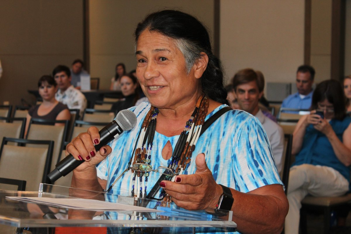 Caleen Sisk, chief of the Winnemem Wintu Tribe, speaks at a scoping meeting for the Delta Conveyance in Sacramento. (Photo by Dan Bacher)
