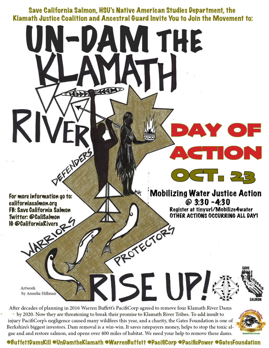 Un-dam the Klamath River, Day of Action October 23, 2020 poster.