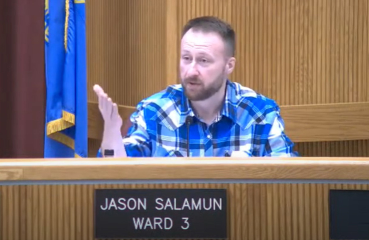 """Rapid City, S.D., City Council member Jason Salamun speaks during a council committee meeting Wednesday during discussion on a land ownership dispute. He questioned the Lakota leaders who brought the issue to the committee. """"Are we negotiating with the correct entity?"""" he asked. """"Are we talking to the right entity to resolve this issue?"""""""