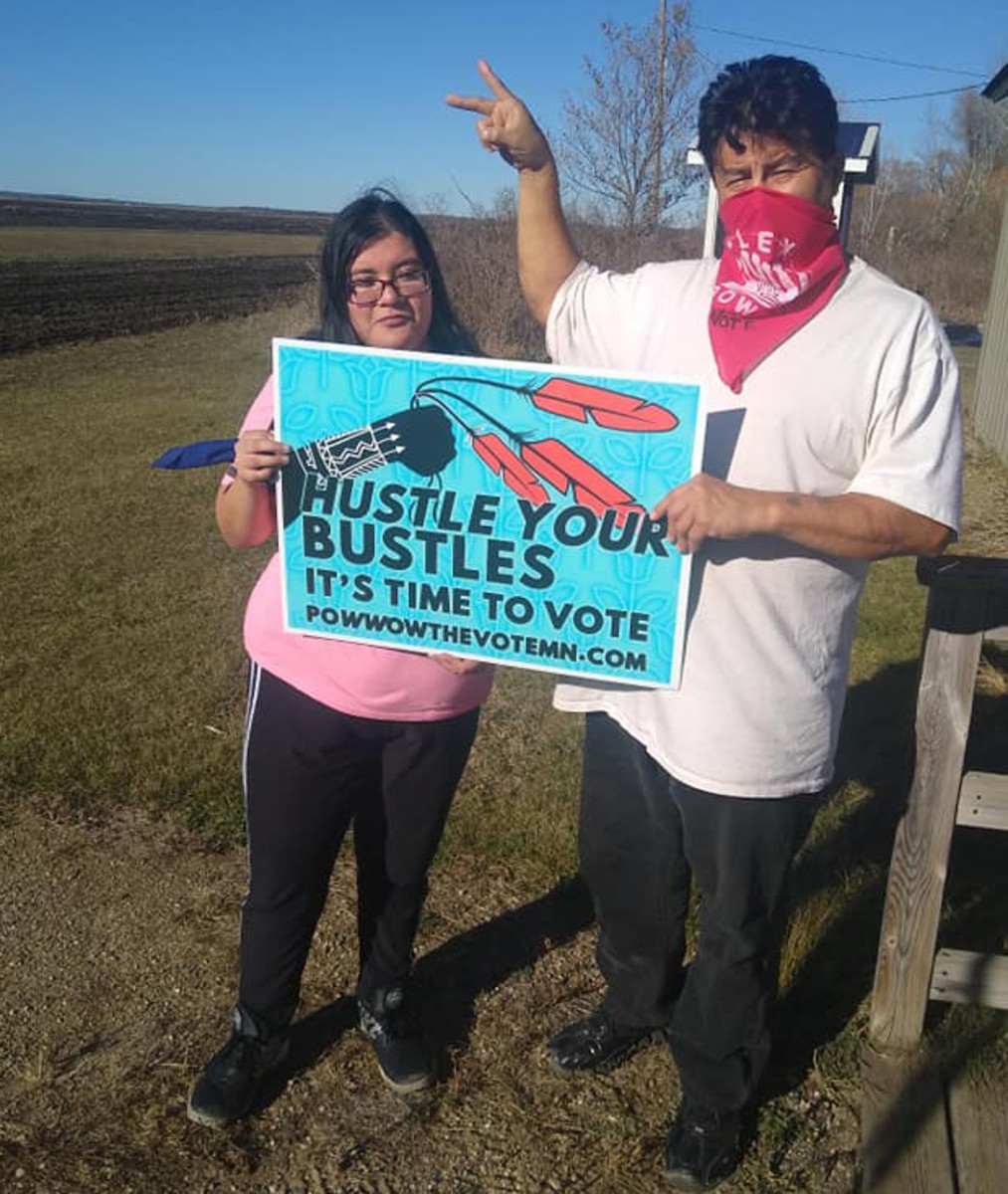 Chuck and Zoey Thompson of the White Earth Ojibwe tribe voted for the first time. (Photo courtesy Winona LaDuke)