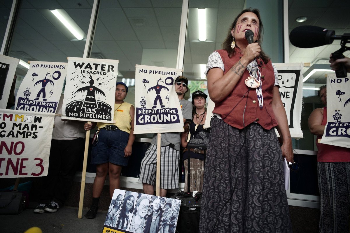 In this June 28, 2018, file photo, Winona LaDuke speaks out against the Line 3 decision in St. Paul, Minn. Opponents of Enbridge Energy's proposed Line 3 crude oil pipeline replacement are turning their attention to fighting the project on other fronts as a Minnesota regulatory panel prepares to take one of its final steps to allow it to proceed. (Richard Tsong-Taatarii/Star Tribune via AP, File)