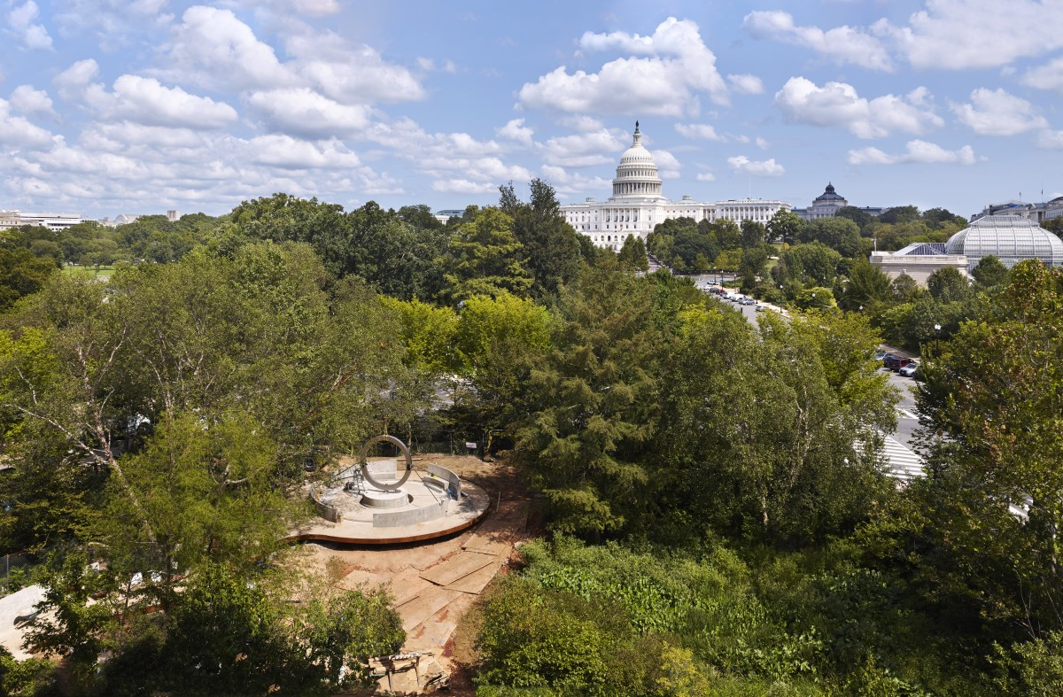 National Native American Veterans Memorial pictured from above near the U.S. Capitol (Photo by Alan Karchmer for NMAI)