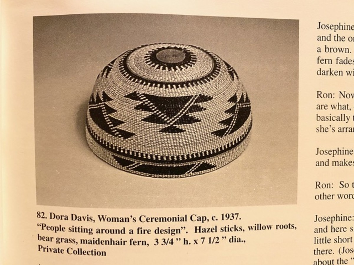 """Pictured: Karok woman's ceremonial cap, c. 1937, with a """"People sitting around a fire"""" design, which was the inspiration for a piece by Fox Anthony Spears, Karok. Wells Fargo is offering credit, debit, and pre-paid cards with art by five American Indian and Alaska Native artists, including Spears. (Photo courtesy of Fox Spears)."""