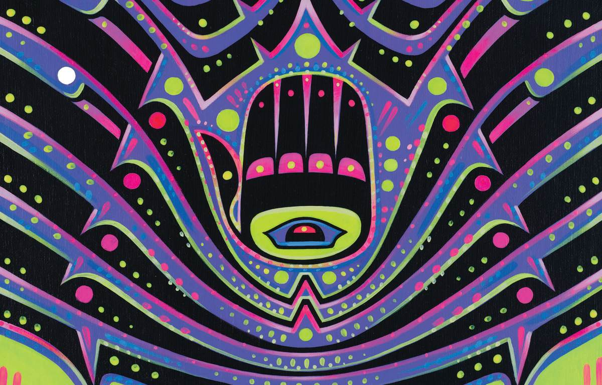 Steph Littlebird Fogel, Grand Ronde Confederation, of Portland, Oregon, said this work of art depicts a hand, an ancient symbol recognized across many cultures in the Middle East, and used in traditional carvings of Pacific Northwest tribes. It was created as part of the Wells Fargo Working for Generations credit card art project (Courtesy of Wells Fargo)