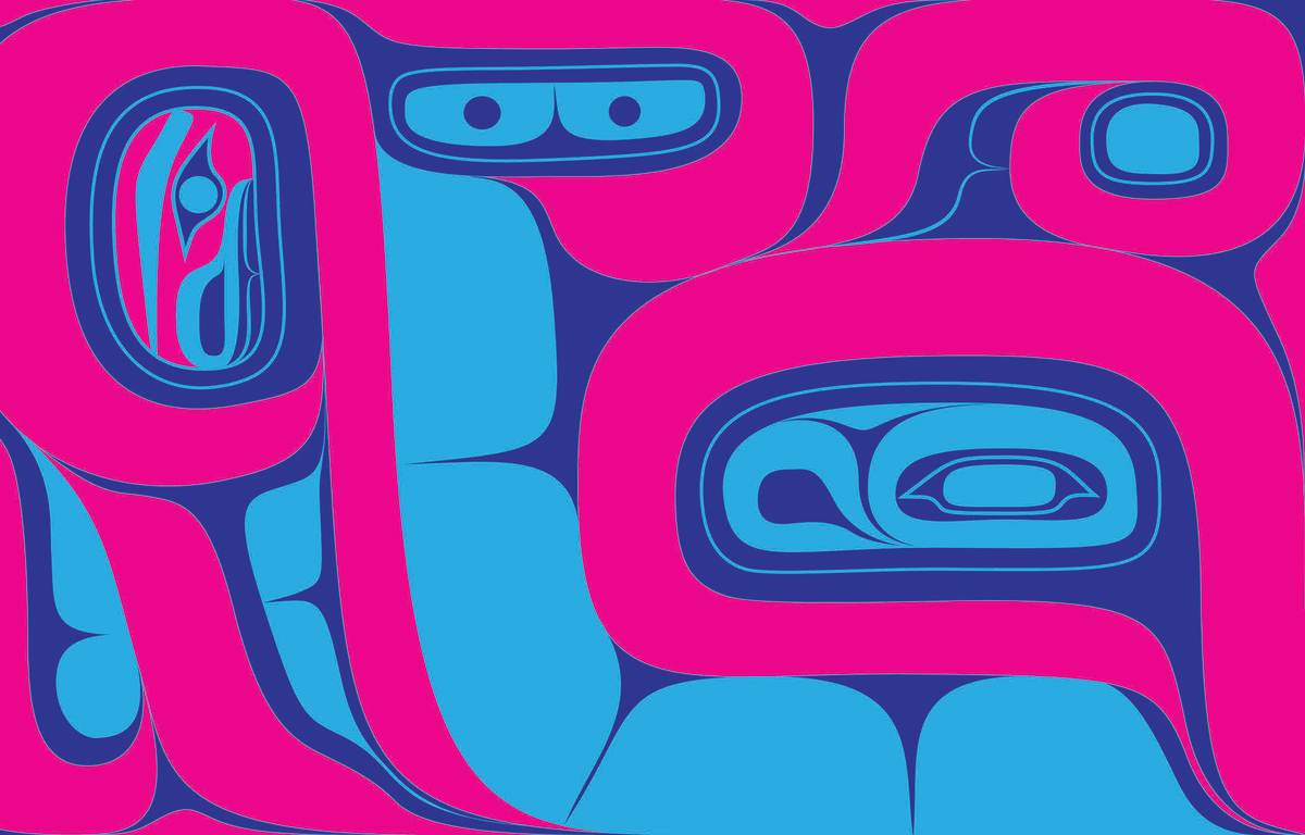 This formline design is by Crystal Worl, Athabascan and Tlingit, of Juneau, Alaska. It symbolizes the importance of balance, which underpins Tlingit kinship and society. It was created for the Wells Fargo 2020 Working for Generations credit card art project (Photo courtesy of Wells Fargo)