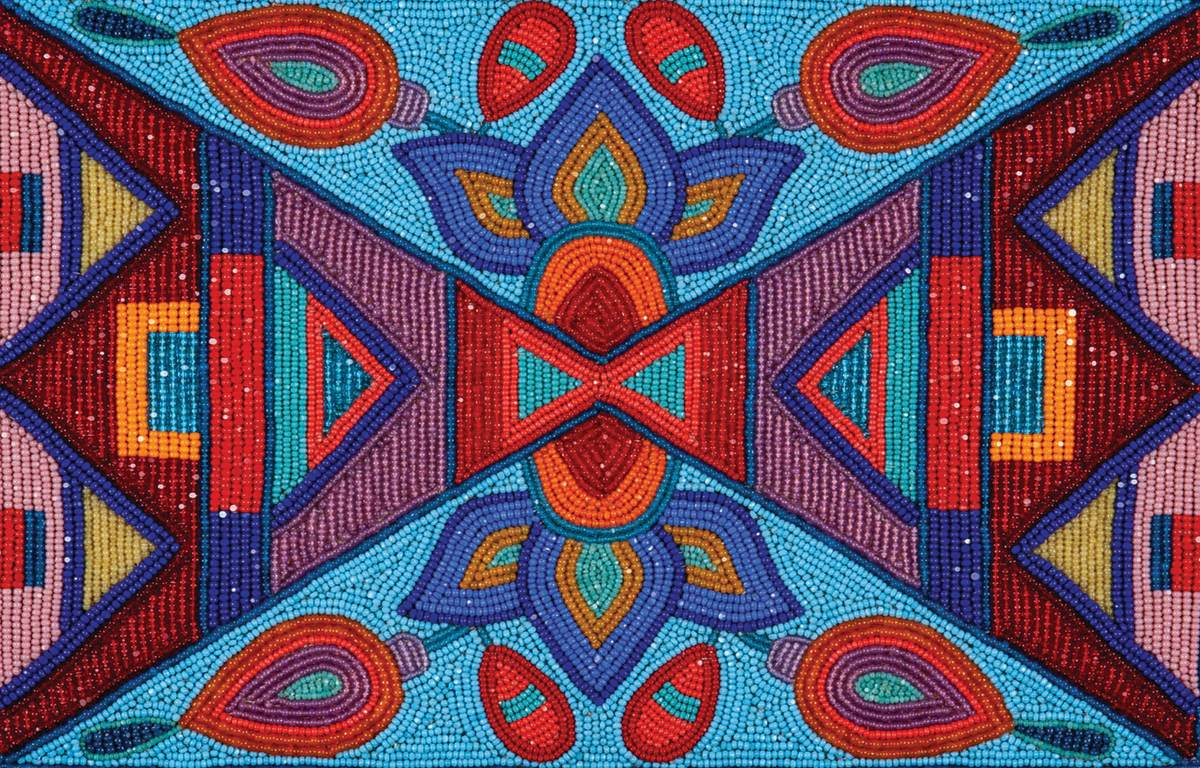 Thisbeaded work of art is by Elias Jade Not Afraid, Apsaalooke (Crow). It merges traditional geometric designs traditionally etched in Crow rawhide traveling cases with floral motifs based on wild flowers in the Crow homelands. (Courtesy of Wells Fargo)