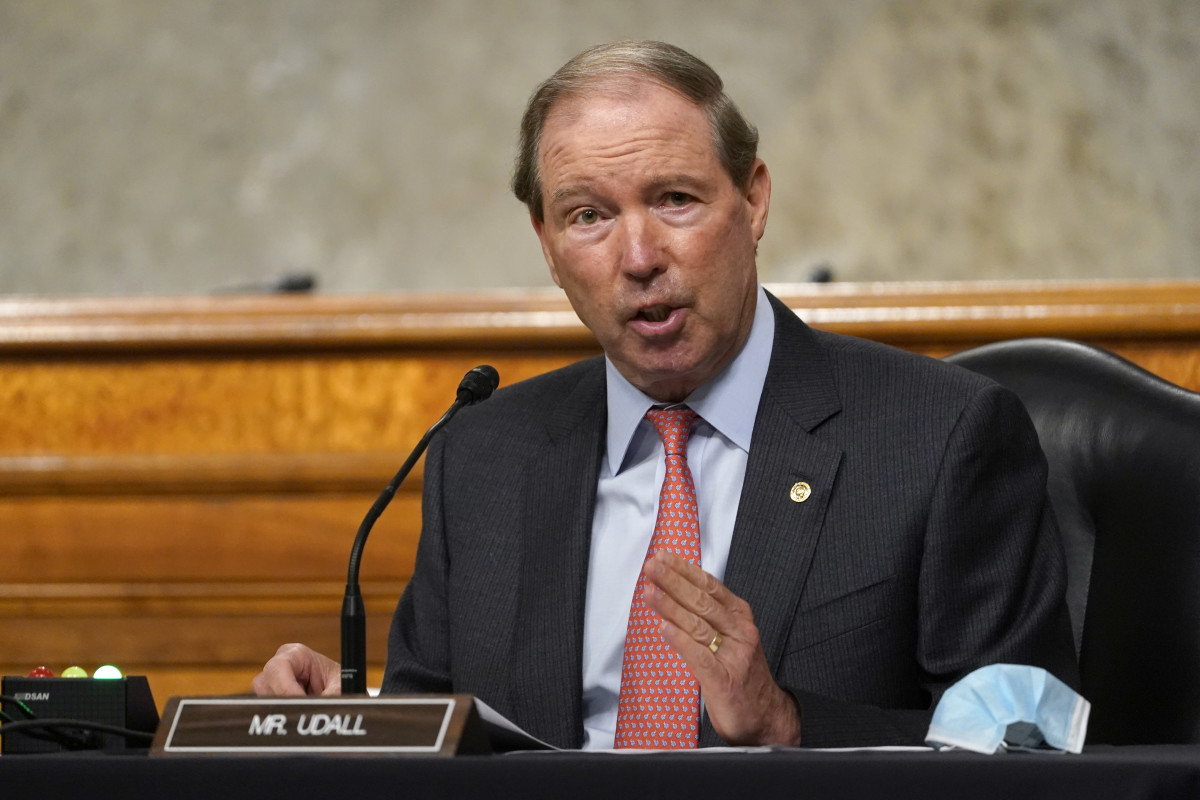 In this Sept. 24, 2020 file photo, Sen. Tom Udall, D-N.M., speaks during a Senate Foreign Relations Committee hearing on Capitol Hill in Washington. Udall is retiring from the Senate, but has emerged as a leading contender to be Interior secretary under President-elect Joe Biden. If chosen, the Democrat would follow in the footsteps of his father, Stewart Udall, a former congressman who led Interior under two Democratic presidents in the 1960s. (AP Photo/Susan Walsh, Pool)
