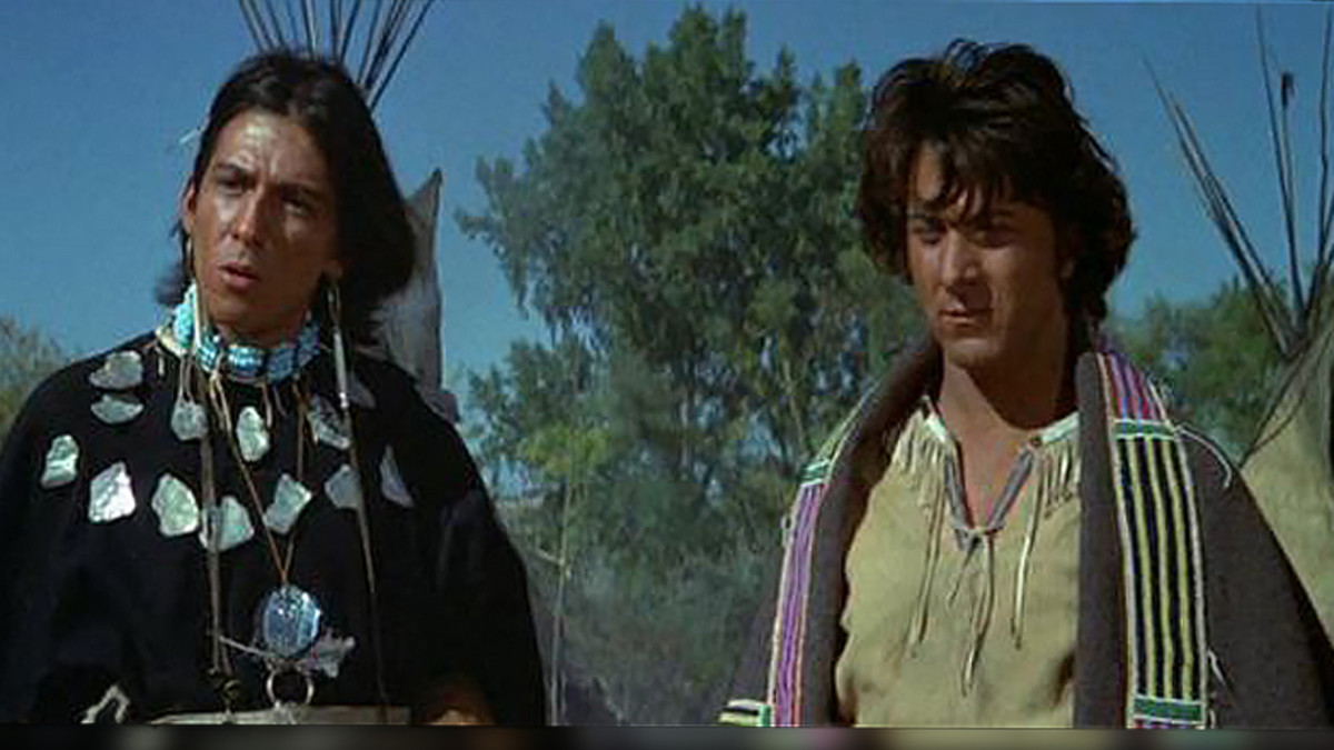 "The classic 1970 film ""Little Big Man"" starring Dustin Hoffman as Little Big Man and Little Horse, portrayed by Native actor Robert Little Star, a Two Spirit/trans character. (Screen capture)"