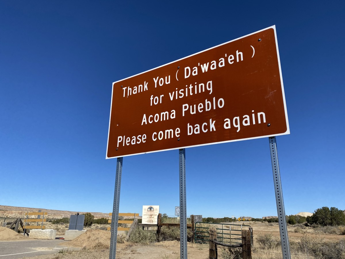 A street sign on Acoma Pueblo in New Mexico. (Photo courtesy of Pueblo of Acoma)