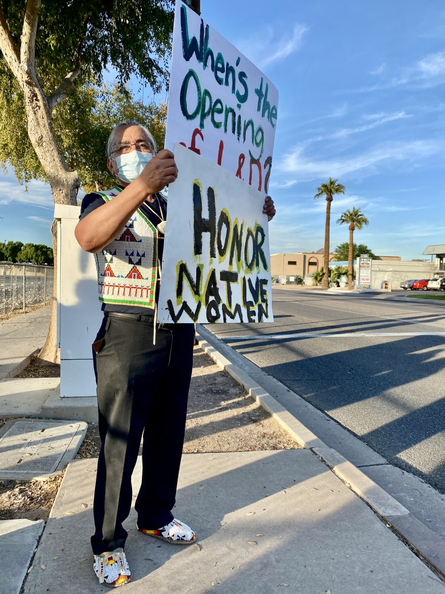 Dr. John Molina, Pascua Yaqui and Yavapai-Apache, former CEO of the Phoenix Indian Medical Center, protested Thursday, Nov. 19, 2020 against the closing of its birthing center. (Photo by Dalton Walker, Indian Country Today)