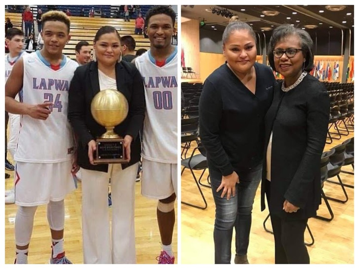 Left photo: Rebecca A. Miles coached her first boys' basketball team after coaching girls teams for over a decade. They won the district championship. Right photo: With Anita Hill after attending her speech. (Photo courtesy of Rebecca A. Miles)