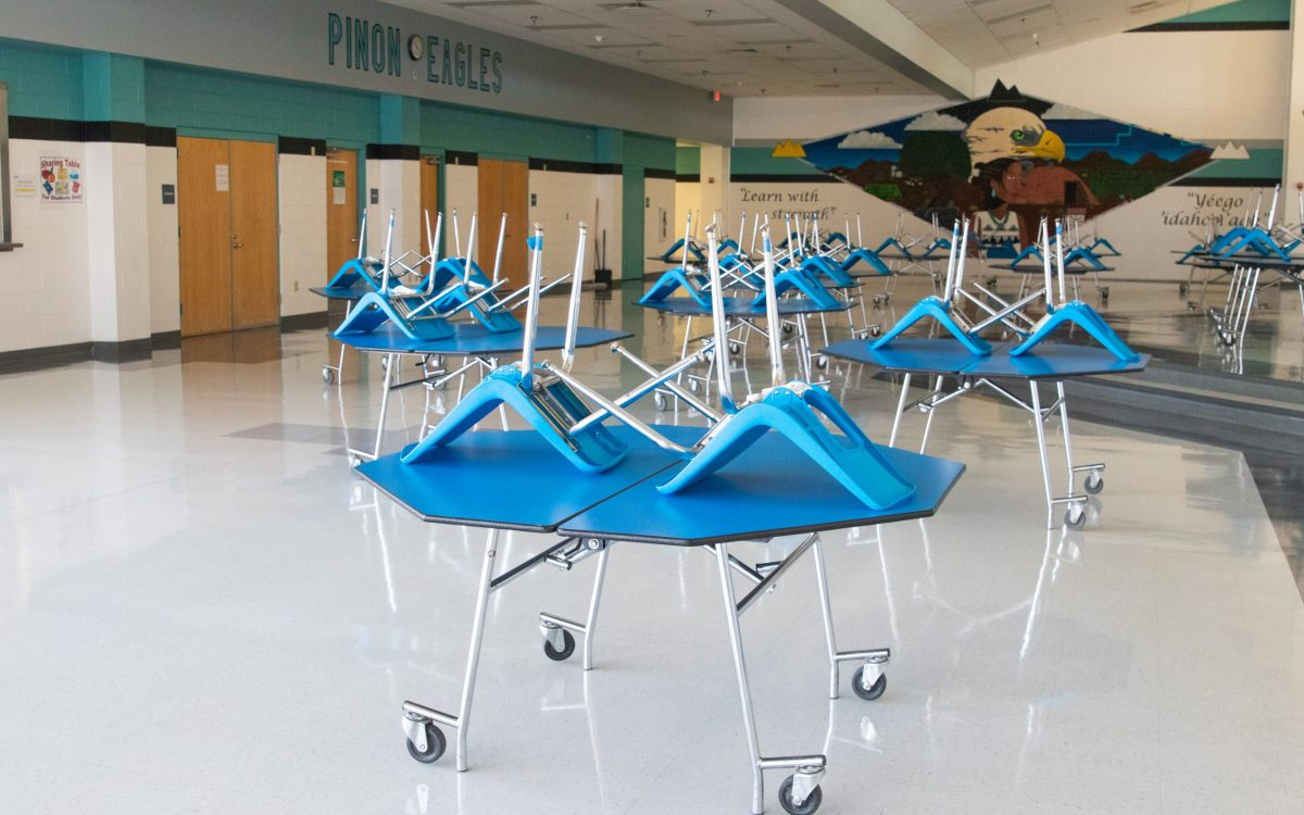 The pandemic has forced students at Piñon High School to attend school virtually, leaving the once-bustling cafeteria and hallways vacant. (Photos by Megan Marples/Cronkite News)