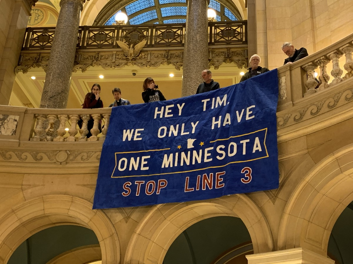 Opponents of Enbridge Line 3 at the Minnesota State Capitol on January 7, 2019. (Photo by Jourdan Bennett-Begaye, Indian Country Today, File)