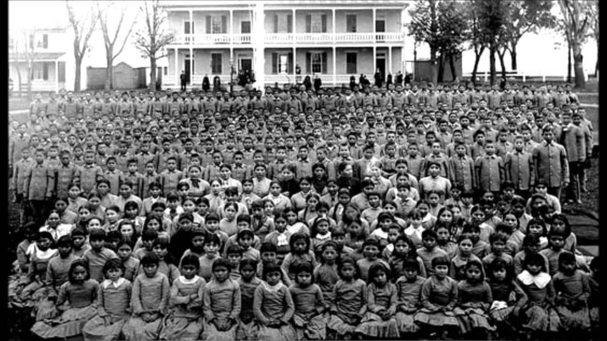 Pupils at Carlisle Indian Industrial School, Pennsylvania (c. 1900)