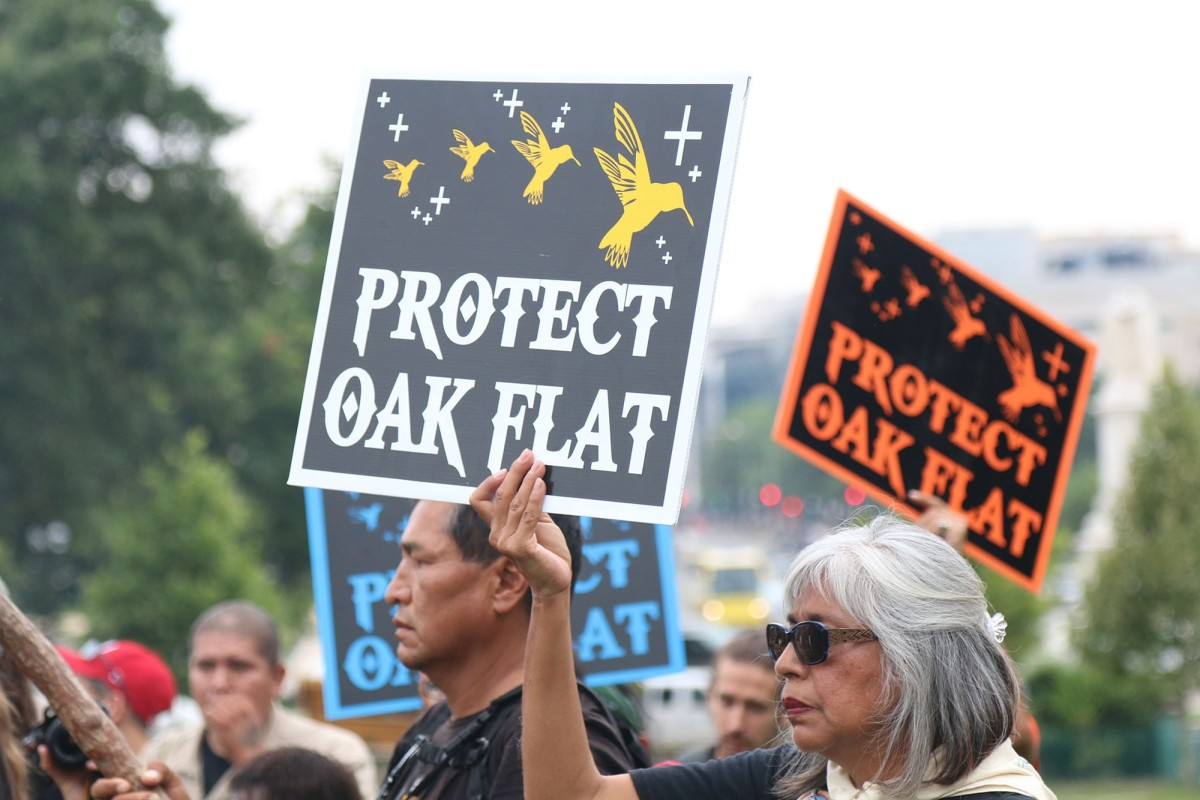 Activists have been protesting against the Resolution Copper mine at Oak Flat for years, including this 2015 protest in Washington. Opponents of the mine now worry that the Trump administration has fast-tracked the mine's final environmental impact statement – a claim both the mine and the U.S. Forest Service deny. (File photo by Jamie Cochran/Cronkite News)