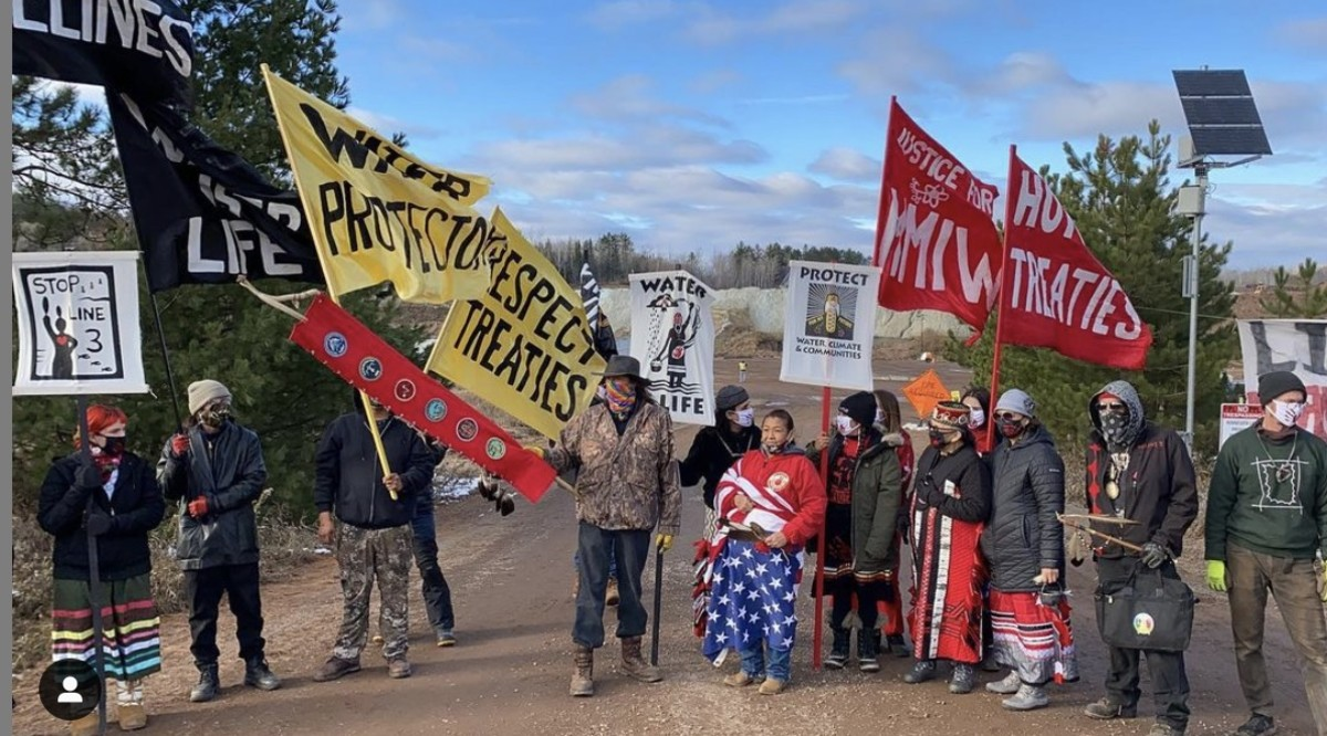 Water protectors gather near Cloquet, Minnesota to oppose Enbridge's Line 3 pipeline construction. (photo courtesy of Ginew Collective)
