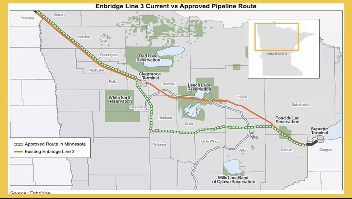 Map showing existing Line 3 and new route of Enbridge pipeline. (Screen shot)