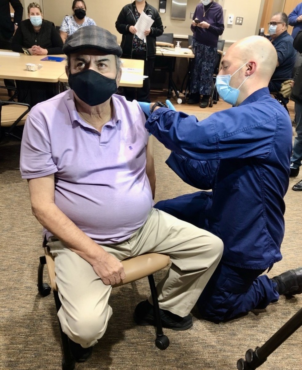 Mike Myers Birdie Lyons received the COVID-19 vaccine on Monday, Dec. 14, 2020 at the Cass Lake Hospital on the Leech Lake Indian Reservation in northern Minnesota. (Photo courtesy of Vince Rock)