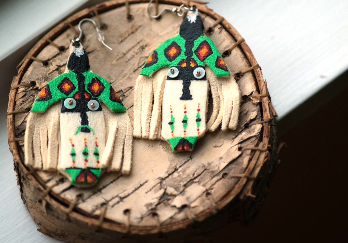 Earrings from Birch Bark Books and Native Arts, Minneapolis. (Photo by Mary Annette Pember)