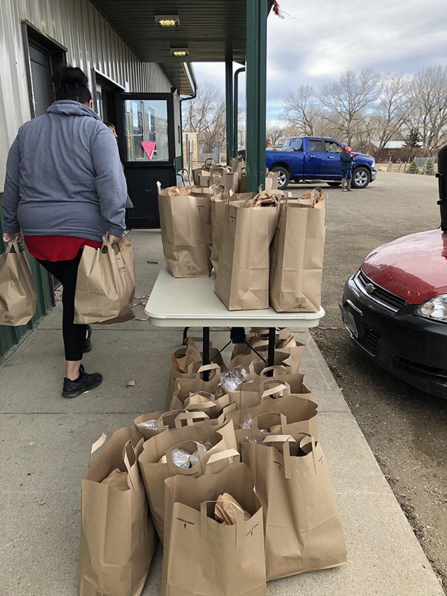 Pictured: 185 holiday food packages were distributed to 126 local families at the Cheyenne River Youth Project campus.