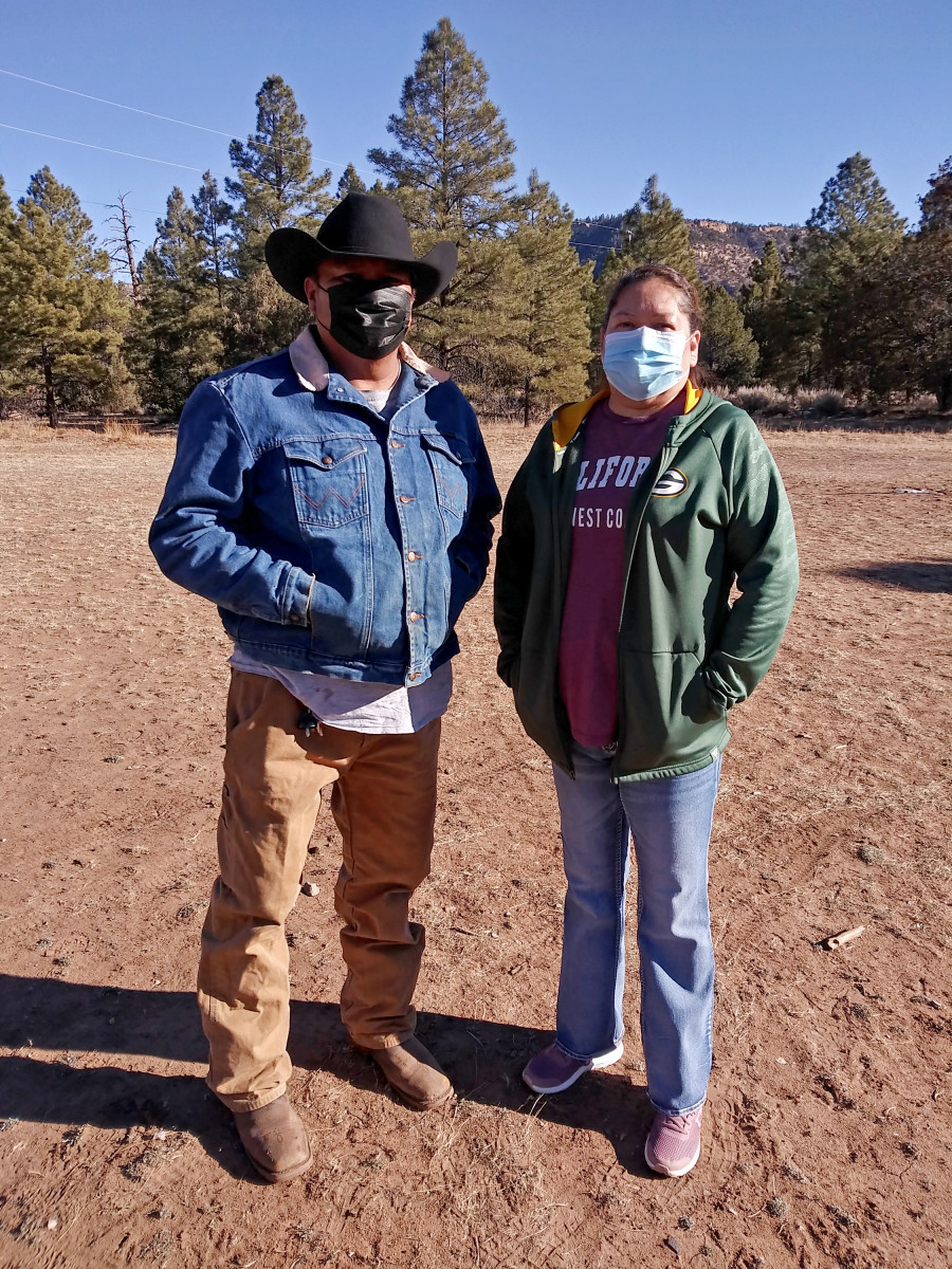 This undated photo provided by Arvena Peshlakai shows Melvin Luke Peshlakai, left, and Arvena Peshlakai at their home in Crystal, New Mexico. The couple volunteered to participate in coronavirus vaccine trials on the Navajo Nation. As coronavirus vaccines were being developed around the world, few Native American tribes signed up to participate. The reasons range from unethical practices of the past to the quick nature of the studies amid the pandemic. Native researchers say without participation from tribal communities, tribes won't know which vaccine might best be suited for their citizens. (Courtesy Arvena Peshlakai via AP)