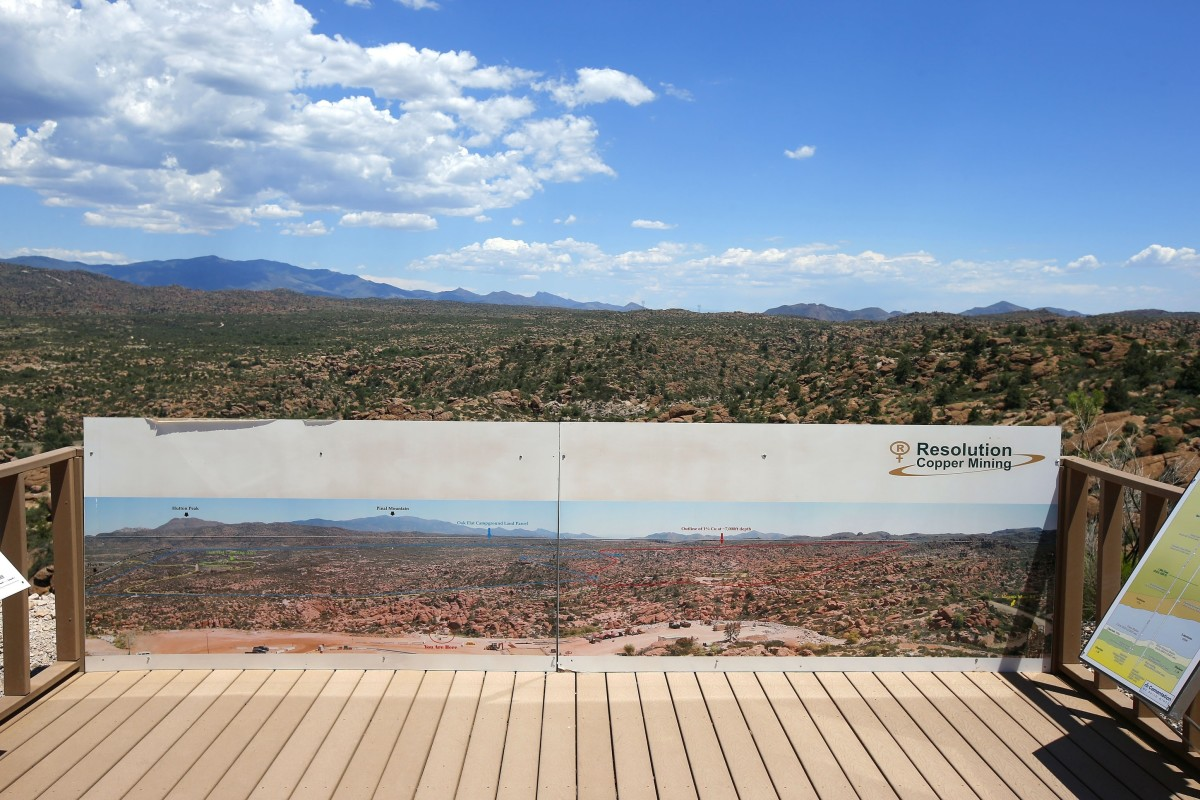 This June 15, 2015, file photo shows in the distance, part of the Resolution Copper Mining land-swap project in Superior, Ariz. A group of Apaches who have tried for years to reverse a land swap in Arizona that will make way for one of the largest and deepest copper mines in the U.S. sued the federal government Tuesday, Jan. 12, 2021. Apache Stronghold argues in the lawsuit filed in U.S. District Court in Arizona that the U.S. Forest Service cannot legally transfer land to international mining company Rio Tinto in exchange for eight parcels the company owns around Arizona. (AP Photo/Ross D. Franklin, File)