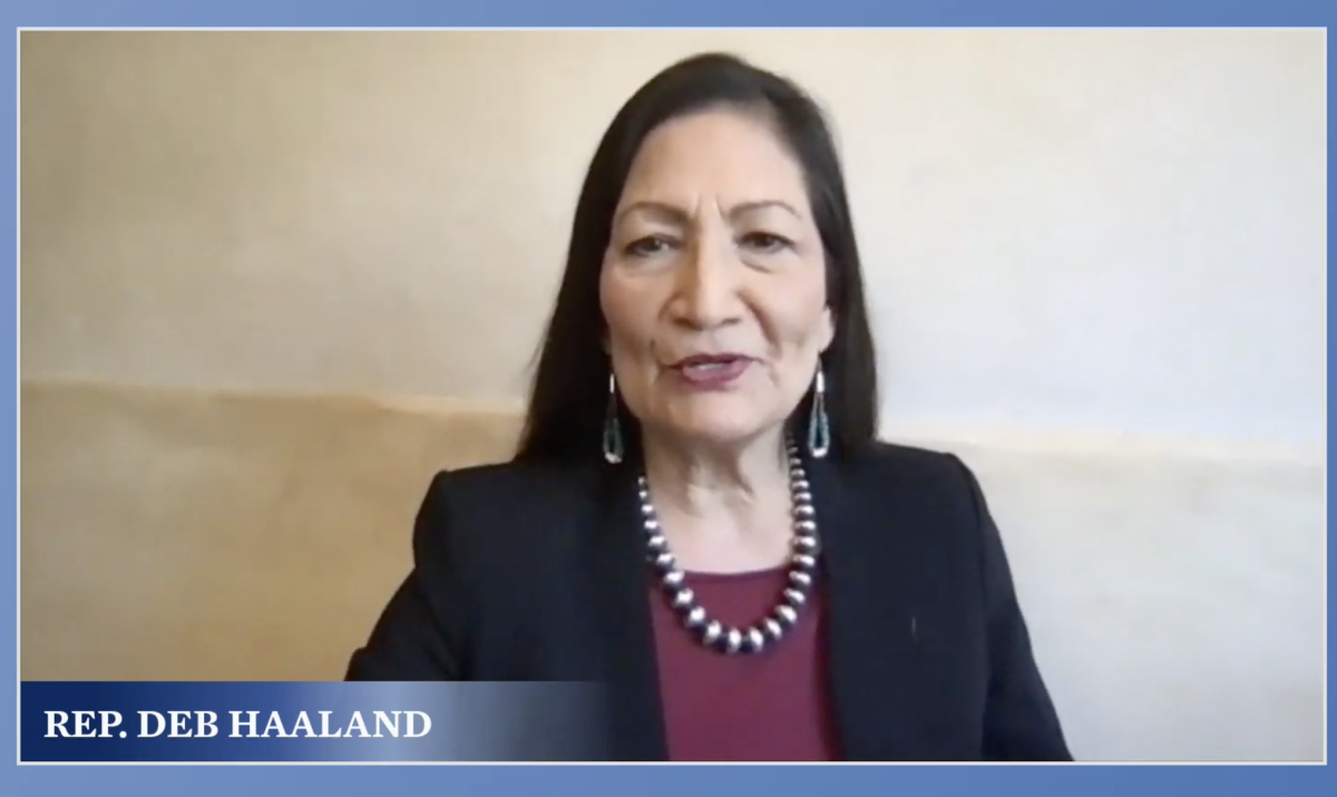 New Mexico Rep. Deb Haaland, Laguna and Jemez Pueblos, made an appearance to give a land acknowledgement and introduced the Quechan singers. (Screenshot)