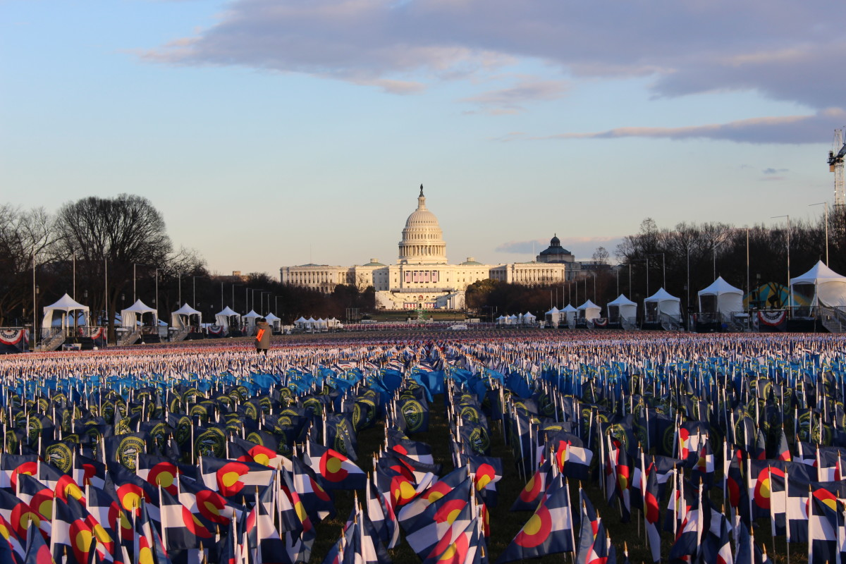 "The ""Field of Flags"" lining the National Mall to represent the missing crowd on Inauguration Day. (Photo by Jourdan Bennett-Begaye, Indian Country Today)"