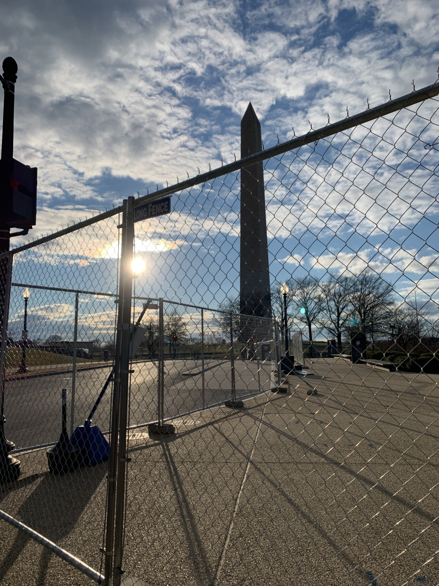 The Washington Monument gated off days before the 2021 inauguration. (Photo by Jourdan Bennett-Begaye, Indian Country Today)
