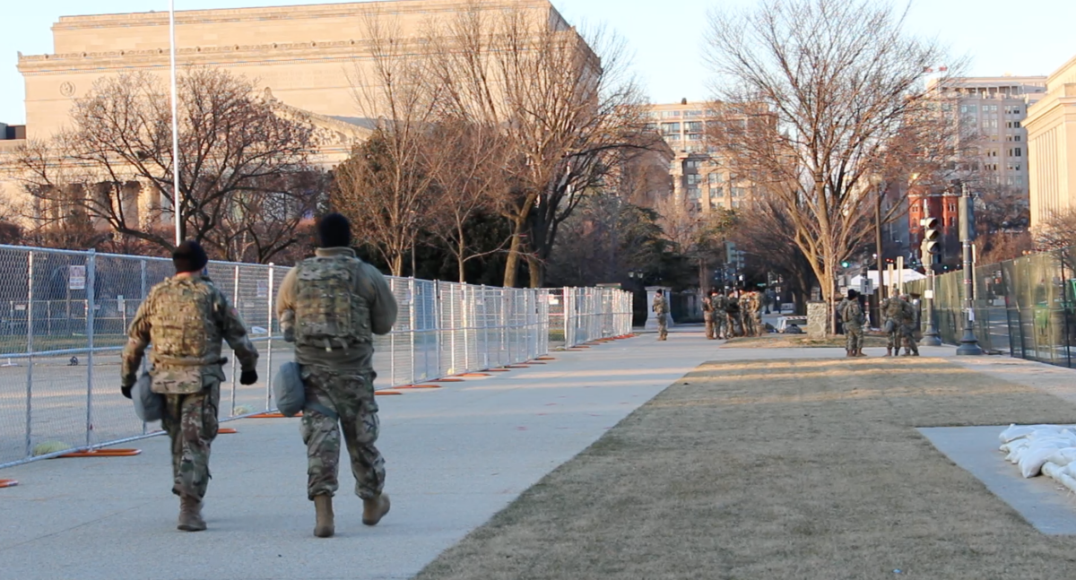 Troops on the National Mall in prep for the inauguration. (Photo by Jourdan Bennett-Begaye, Indian Country Today)