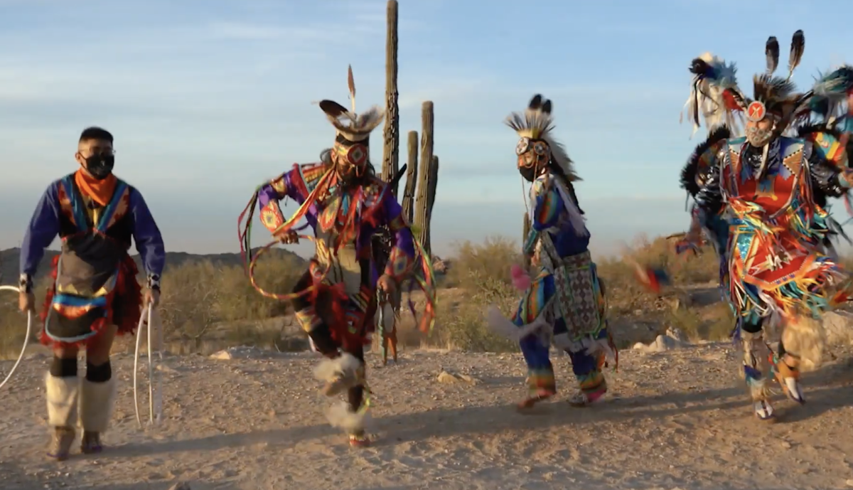 "Indigenous Enterprise dances in President Joe Biden's virtual ""Parade Across America"" on Jan. 20. (Screenshot)"