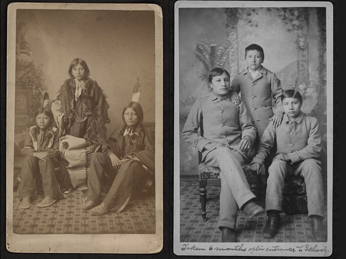 Left: Three Sioux boys pose at the Carlisle Indian Industrial School at the beginning of the assimilation process. Right: The same Sioux boys pose six months later. (Photos courtesy of the Carlisle Indian School Digital Resource Center)
