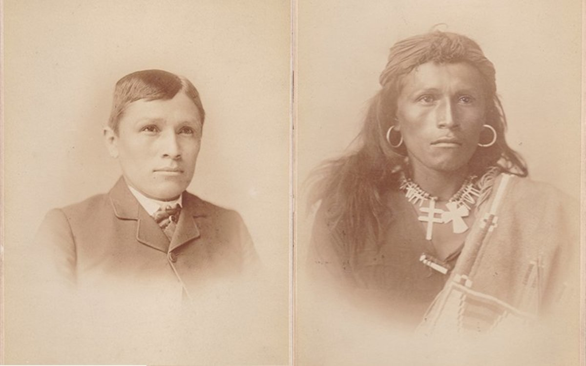 "Tom Torlino, a Navajo student who attended the Carlisle Indian Industrial School in 1882, poses for ""before"" and ""after"" photos, which were used to promote the boarding school to tribes across the country. (Photo courtesy of the Carlisle Indian School Digital Resource Center)"