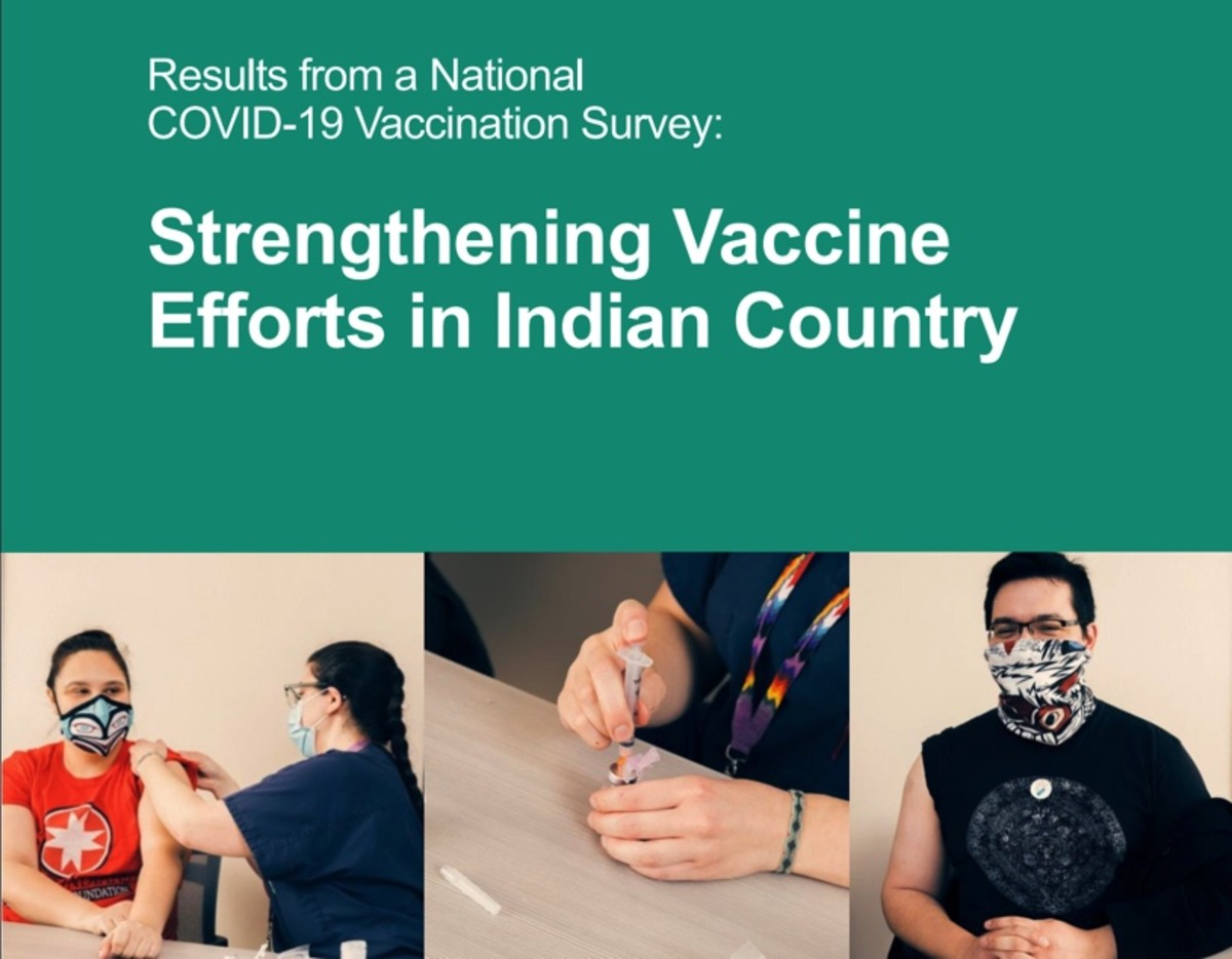 "Cover of a study by the Urban Indian Health Institute, ""Strengthening Vaccine Efforts in Indian Country,"" which was released Jan. 28, 2021 (Screenshot)."