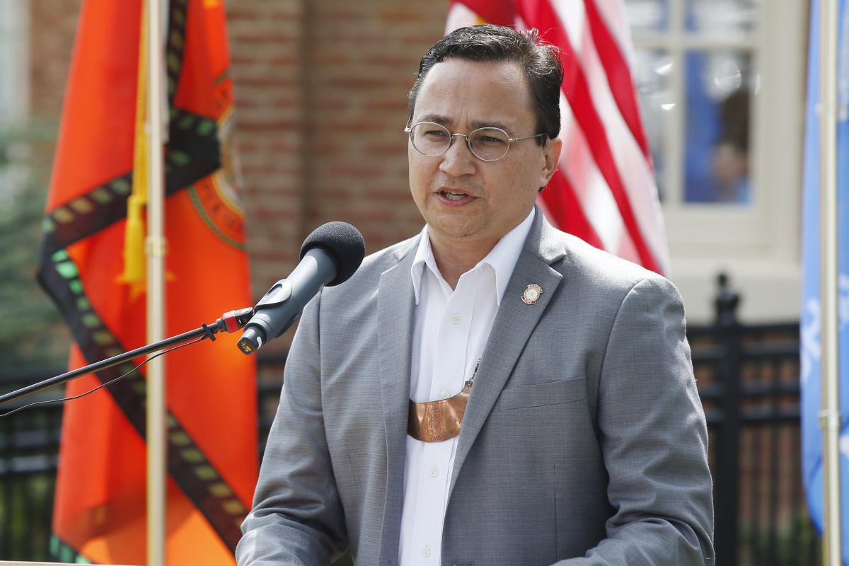 In this Aug. 22, 2019, file photo, Cherokee Nation Principal Chief Chuck Hoskin Jr., speaks during a news conference in Tahlequah, Okla. Hoskin Jr. plans to invest $16 million into the Oklahoma-based tribe's language preservation program, including a new cabinet-level position focused on its language, culture and community. (AP Photo/Sue Ogrocki, File)