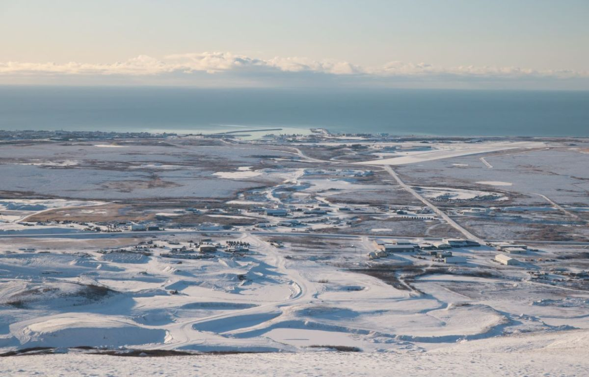 Aerial view of Nome from Anvil Mountain in fall, 2020 (Photo courtesy of Jenna Kunze).