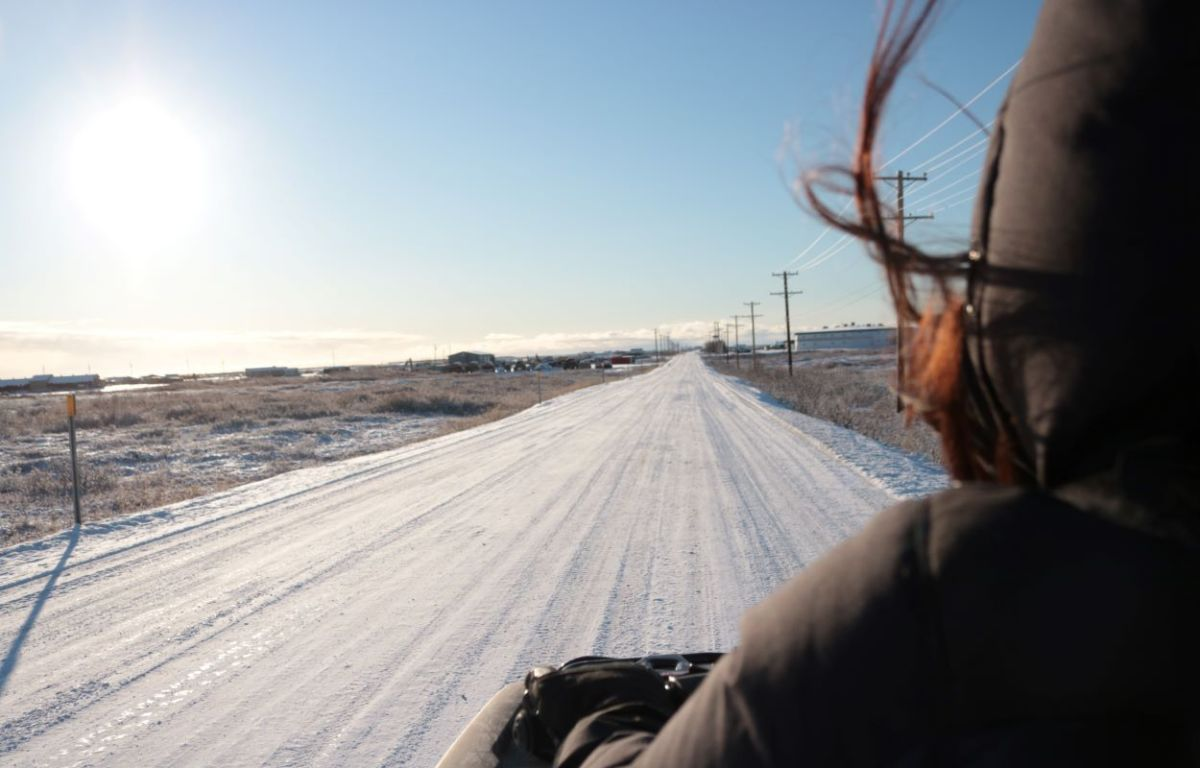 Four-wheeling down Front St. in Nome, fall 2020 (Photo courtesy of Jenna Kunze).