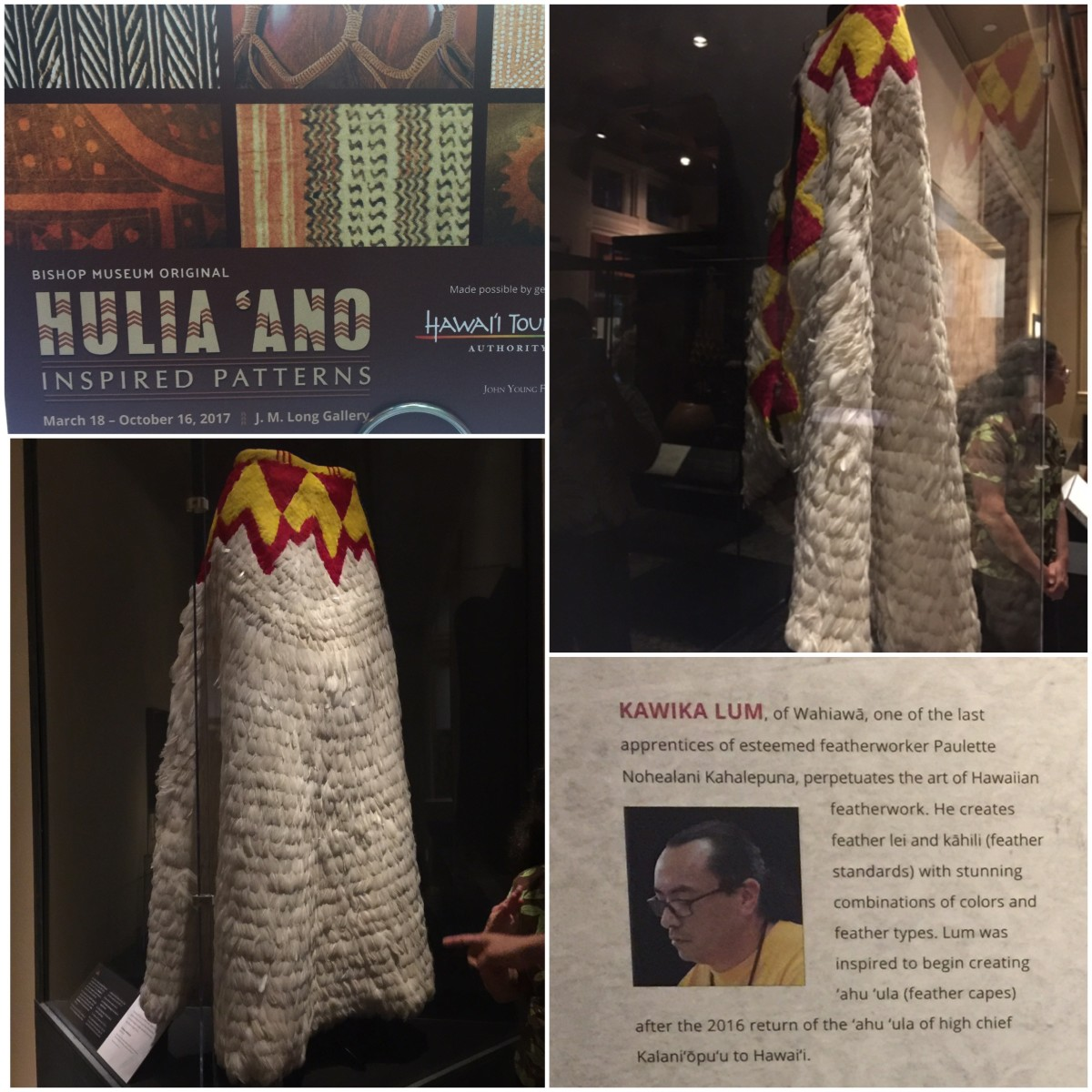 Cape (ʻahuʻula), 2017 by Kawika Lum-Nelmida. White rooster tail and red-and-yellow-dyed goose feathers, dimensions 6 × 7.5 feet. Hulia ʻAno Exhibit, Bishop Museum, Honolulu. (Courtesy of the artist)