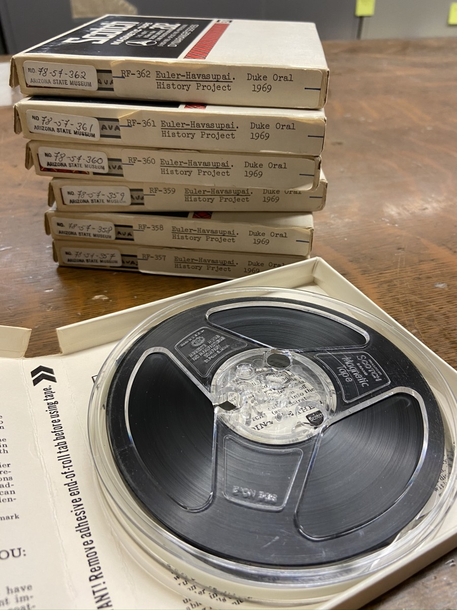 Stack of original 5 inch reel-to-reel 1⁄4 inch magnetic tapes from the Doris Duke Native Oral History Project collection at the Arizona State Museum. (Photo courtesy of Arizona State Museum at the University of Arizona)