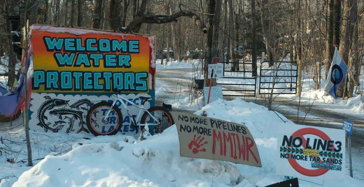 Honor the Earth's water protector camp and welcome center near Palisade, MN. (Photo by Mary Annette Pember)
