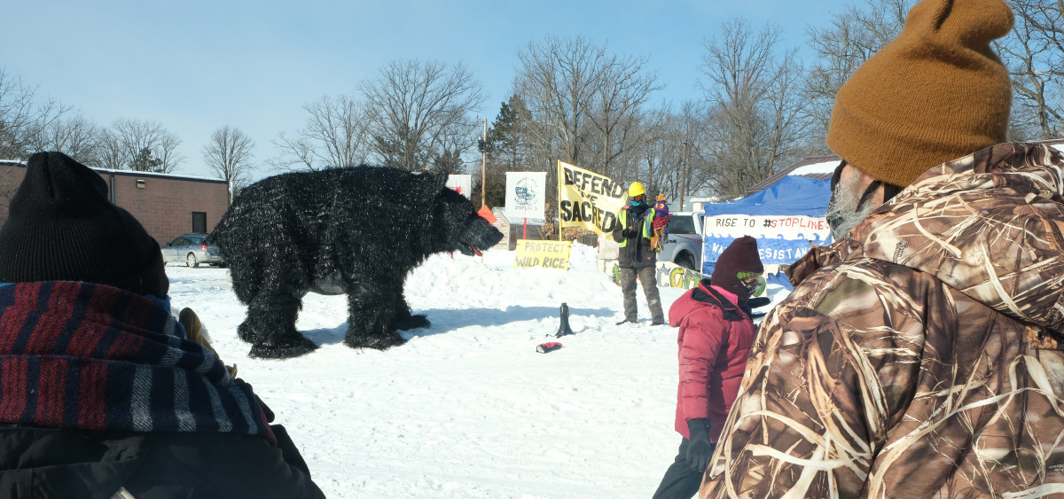 The water protector educational event in Palisade, MN featured a puppet show. (Photo by Mary Annette Pember)