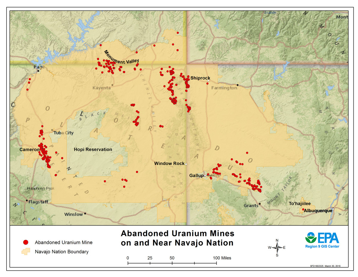A 2016 Environmental Protection Agency map showing some of the hundreds of abandoned mines in and around the Navajo Nation. Tribal and federal officials have been working for years on cleanup plans for the mines. (Map courtesy the EPA)
