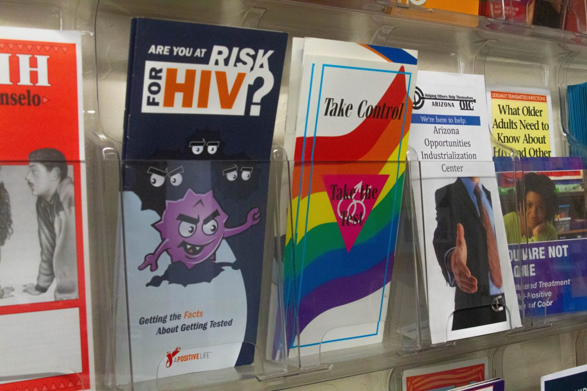 Brochures with educational information about HIV await visitors in the front office of Ebony House in downtown Phoenix. (Photo by Kamilah Williams/Special for Cronkite News)