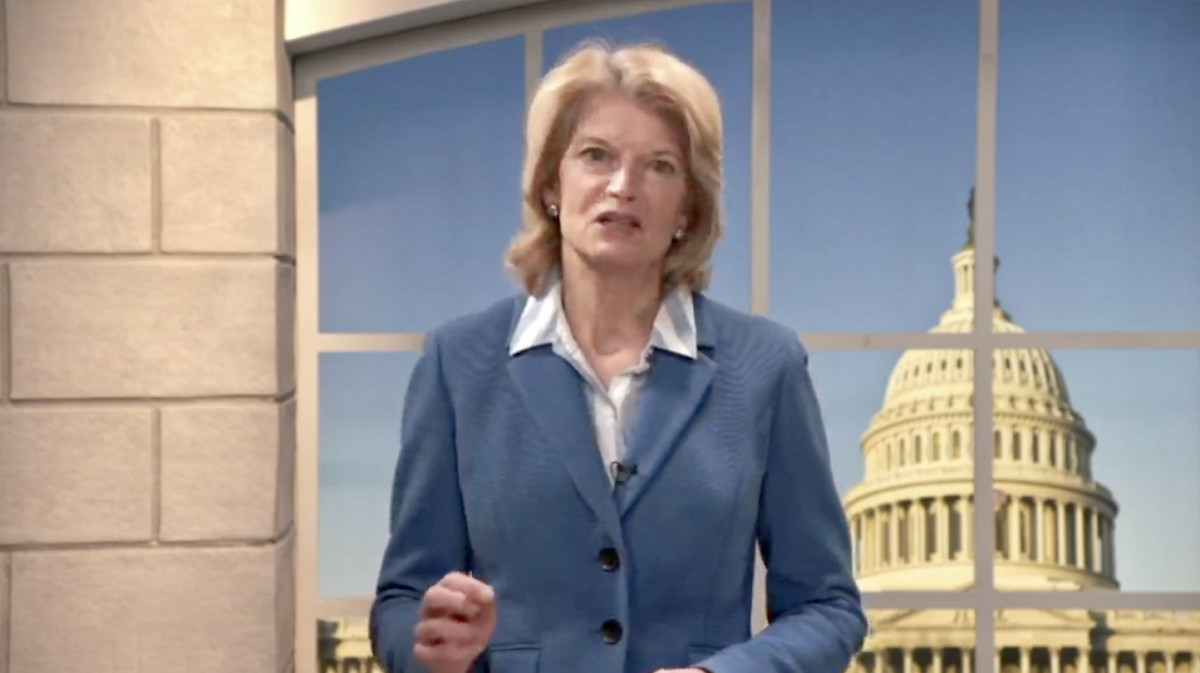 Alaska Republican Sen. Lisa Murkowski delivered the 2021 congressional response to NCAI's State of Indian Nations. (Photo via screen grab)