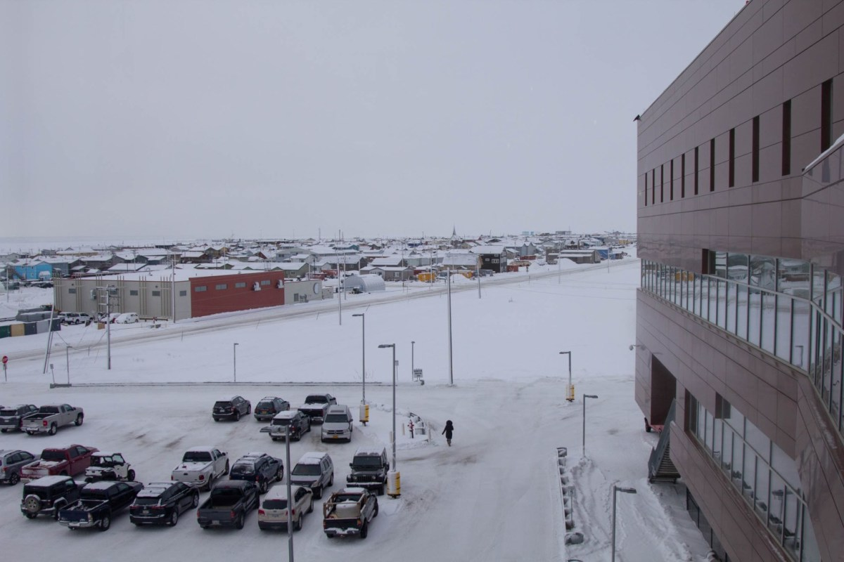 View of Nome in the winter time from hospital. (Photo by Brisa Alarcon, KNOM Radio)