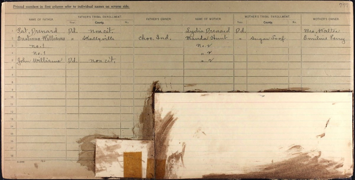 Sallie Walton's census card from the Dawes Rolls identifies her as Freedmen, even though her father was a Choctaw citizen. Because of this, her descendants, including Angela Walton-Raji, aren't eligible to enroll in the Choctaw Nation of Oklahoma. (Photo courtesy of Angela Walton-Raji, Underscore)