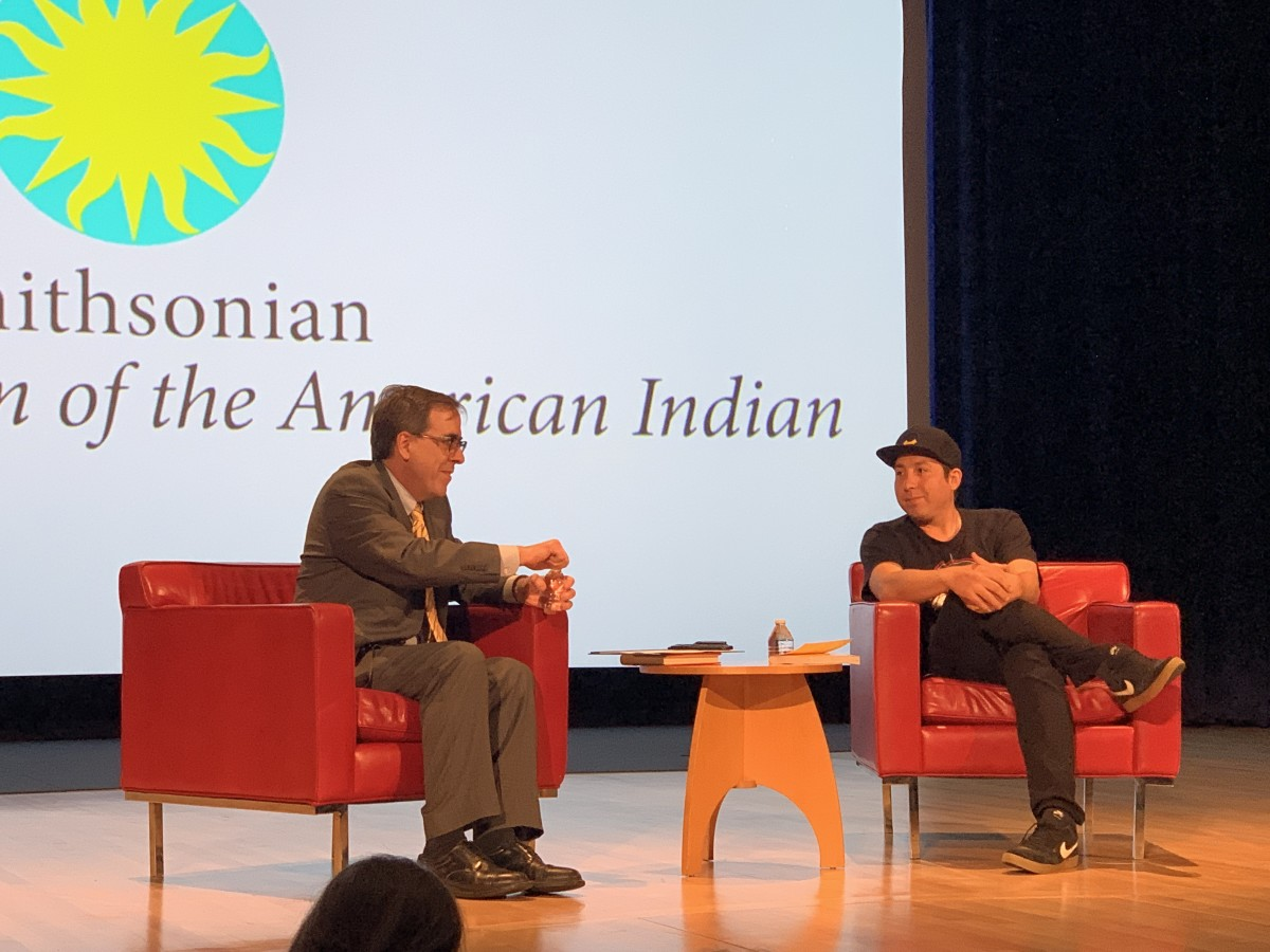 Tommy Orange speaks with a book reviewer from the Washington Post at the National Museum of American Indians in Washington, D.C., on May 8, 2019. (Photo by Jourdan Bennett-Begaye, Indian Country Today, File)