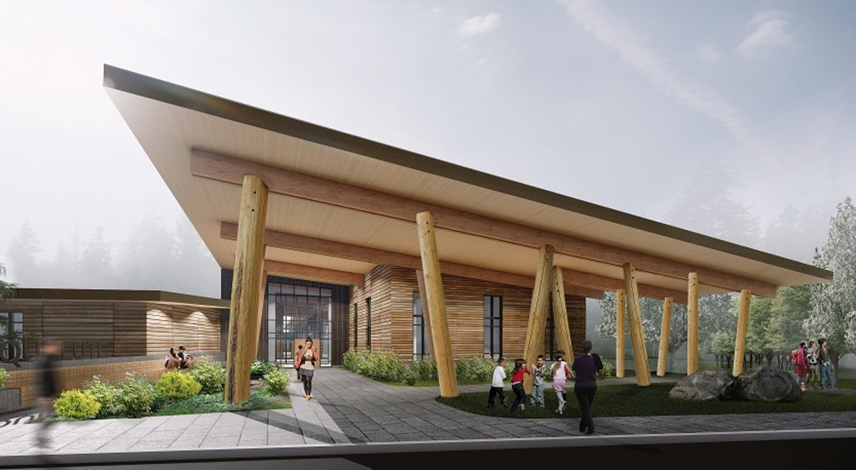 An architect's rendering shows the Quileute Tribal School, which is under construction in early 2021 in the Upper Village. Climate change is threatening the Quileute Tribe's Lower Village, forcing it to move operations to higher ground. (Photo Courtesy of the Quileute Tribe)