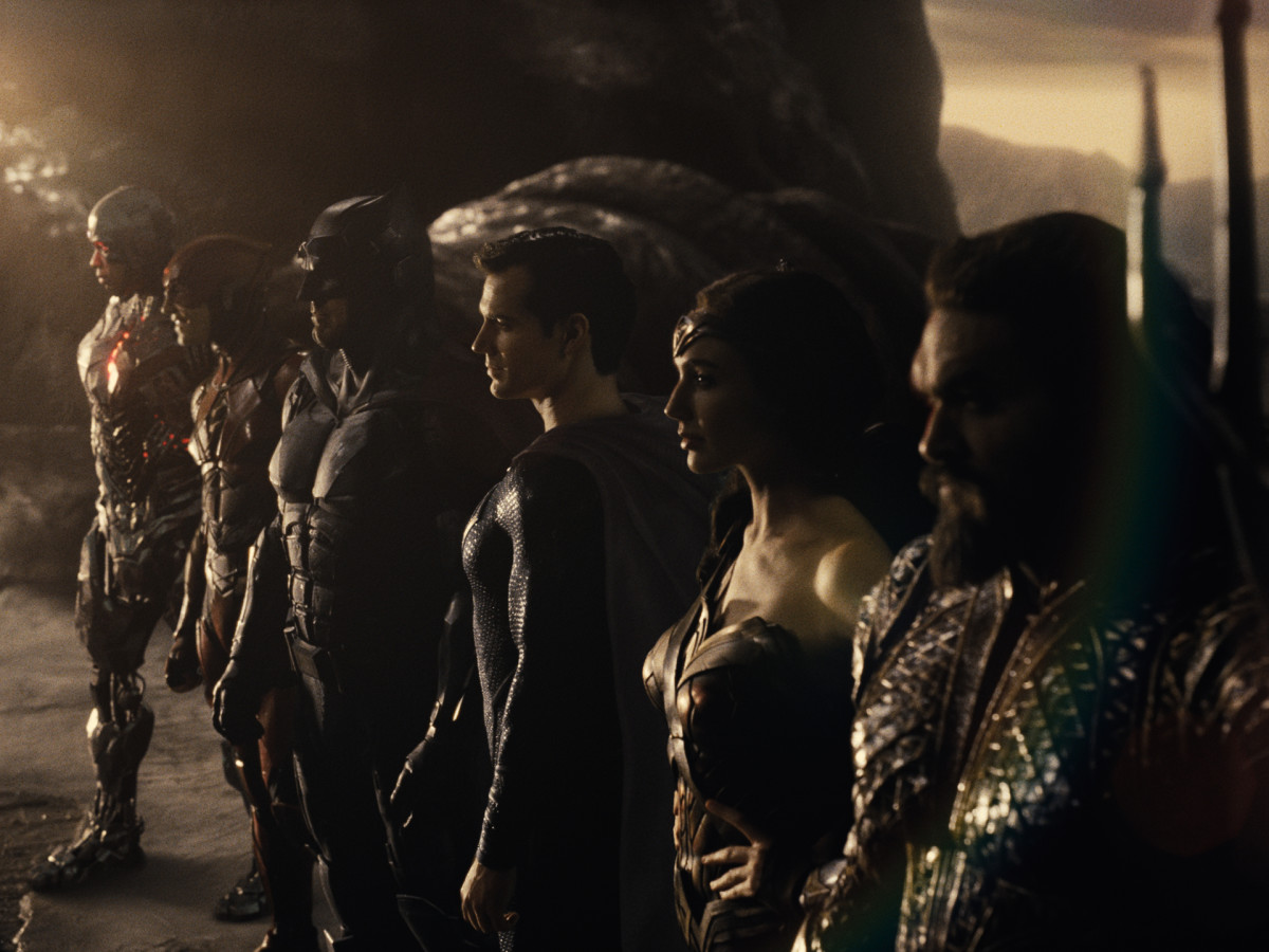 Zack Snyder's Justice League. Ray Fisher (Cyborg / Victor Stone), Ezra Miller (The Flash / Barry Allen), Ben Affleck (Batman / Bruce Wayne), Henry Cavill (Superman / Clark Kent), Gal Gadot (Diana Prince / Wonder Woman), Jason Momoa (Aquaman / Arthur Curry) (Courtesy HBO Max/Warner Media)