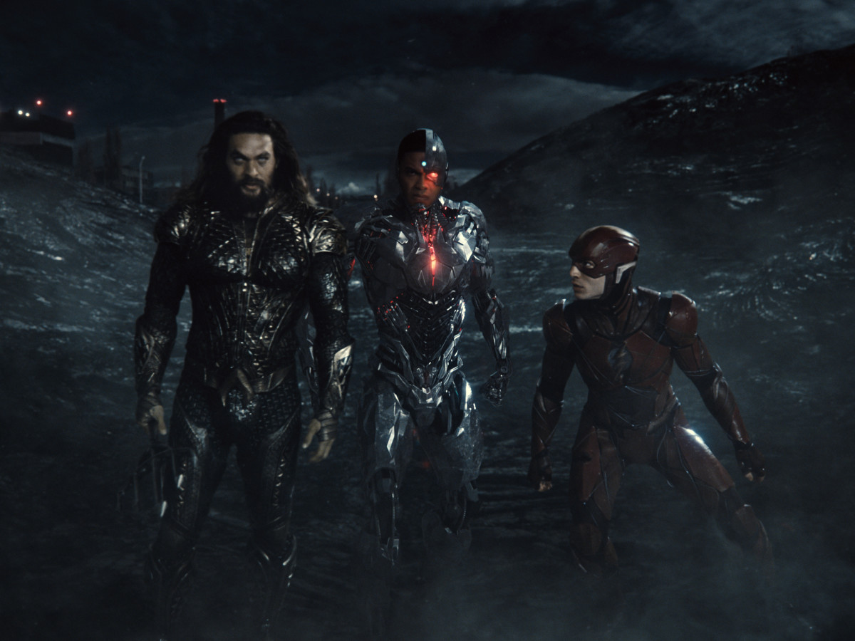 Jason Momoa (Aquaman / Arthur Curry), Ray Fisher (Cyborg / Victor Stone), Ezra Miller (The Flash / Barry Allen) (Photograph by Courtesy of HBO Max)